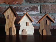 Trio of Handmade Wooden 'Wonky House' Fridge Ornaments