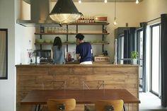 カフェ風 Cafe Interior, Kitchen Interior, Room Interior, Interior Design, Interior Ideas, Living Room Kitchen, Diy Kitchen, Dark Kitchen Cabinets, Japanese Interior