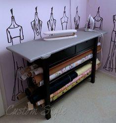 32 Ideas Sewing Room Organizing Ikea Ironing Station For 2019 Sewing Room Design, Sewing Room Storage, Sewing Spaces, Sewing Room Organization, My Sewing Room, Craft Room Storage, Sewing Studio, Fabric Storage, Diy Storage