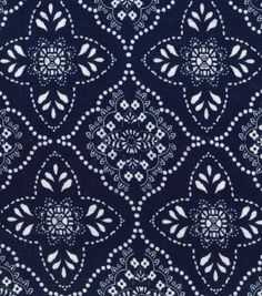 Knit Fabric-Medallion Foulard Navy Rayon Spndx
