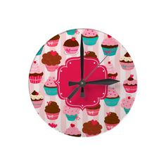 Modern Pink Cupcakes Girl's room or kitchen Clock #decor