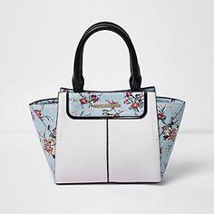 Girls blue floral print winged tote bag