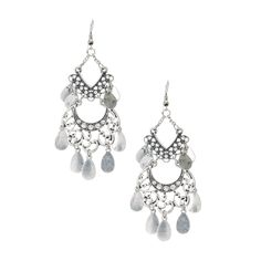 Silver Filigree Medallion with Coin Fringe Drop Earrings