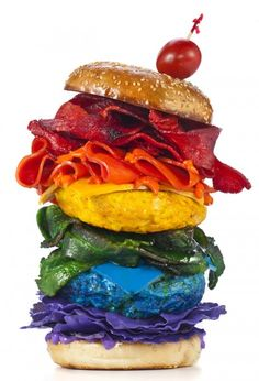 Taste the rainbow? I wouldn't eat. Too much artificial color, but an interesting take on a hamburger.    Henry-Hargreaves
