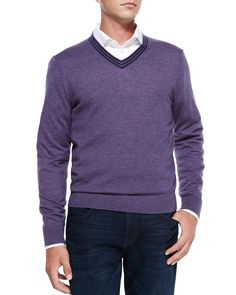 Neiman Marcus V-Neck Pullover Cashmere Sweater, Lavender/Navy Stripe, Men's, Size: XXL, Grey