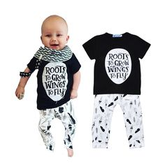 ad3918956 US $7.36 |2016 Nununu Style Boy Kids Clothes Set Lovely Letter Printing T  shirt+Feather Harem Pants 2pcs Set Brand Girl Baby Leisure Set-in Clothing  Sets ...