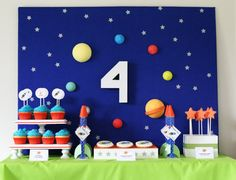 Outer Space  Rocket Birthday Party Invitation by greenapplepaperie, $10.00