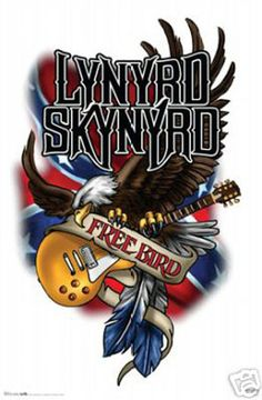 lynyrd Skynyrd Free bird Guitar and Eagle Rare Vintage Poster Lynyrd Skynyrd, Rock Posters, Concert Posters, Gary Rossington, Woodstock, Heavy Metal, Allen Collins, Bird Poster, Country Music