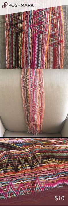 *NEW* Long Bohemian Design Colorful Scarf *NEW* Never Worn Gorgeous Bohemian Design Multi-Color Scarf with Fringe, Includes some loose threads which are consistent with the loosely woven design (see photos for examples). 15% Discount on 3 of more items from my closet! Accessories Scarves & Wraps