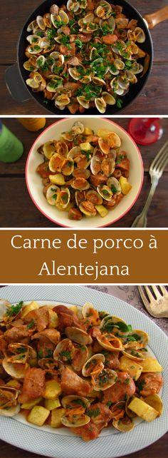 Carne de porco à Alentejana   Food From Portugal. Tem um almoço com amigos? Sugerimos esta saborosa refeição tradicional portuguesa de carne de porco à Alentejana! É fácil de preparar, tem um aspecto delicioso e todos vão gostar. Bom apetite! #receita #porco