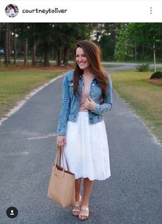 Layer a tee over my white dress to give it the skirt effect. Add denim jacket