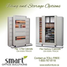 To increase storage capacity in limited space, Kwik-Track allows you to place stationary shelving against the wall with either one or two rows of laterally moving units on tracks. For more information, please call 1 877 922 0118 Office Storage, Office Organization, Locker Storage, Us Office, Smart Office, New Furniture, Office Furniture, Moving Units, Office Interiors