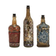 IMAX Reclaimed Hand-Painted Bottles - Set Of 3