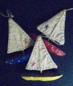 Folk Art SAILBOAT Ornaments-Set/3-Original by FolkArtWorks on Etsy