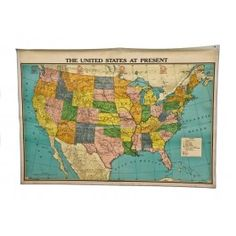 Vintage Classroom US Map, circa 1950's / Urban Remains.....just crazy how you forget the simple things from your past until you see it! Pinterest has brought back alot of good memories since i joined <3