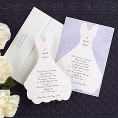 """Your wording will be printed on this die-cut bridal dress invitation. """"A Bridal Shower"""" will be printed at the top as shown"""