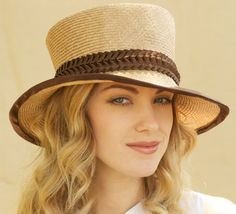 Stylish Tan Straw Hat With Brown Trim.
