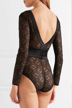 Eres - Smoking Silk-blend Satin-trimmed Leavers Lace Bodysuit - Black - FR