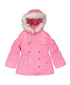 Look what I found on #zulily! Pink Hooded Puffer Coat - Toddler & Girls #zulilyfinds