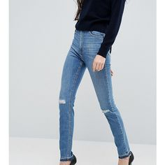 ASOS TALL FARLEIGH Slim Mom Jeans In Hawthorn Mid Stonewash with... ($32) ❤ liked on Polyvore featuring jeans, blue, high waisted distressed jeans, slim fit ripped jeans, slim jeans, tall high waisted jeans and high waisted ripped jeans