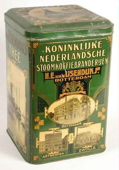"IJsendijk's Thee [Tea] tin with black and white images of company sites in Rotterdam, Antwerp and Zwolle, and maritime scenes on square, high tin with hinged lid, green with gold lettering ""Koninklijke Nederlandsche Stoomkoffiebranderijen H.E. van IJsendijk Jr. [Royal Dutch Steam Burner HE van IJsendijk Jr.] Rotterdam, c. 1920s-1930s, Holland/The Netherlands-"
