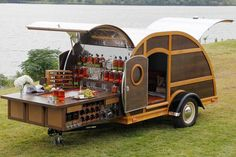 The Bulleit Frontier Whiskey Woody-Tailgate Trailer Offered by Neiman Marcus, this custom trailer designed by Brad Ford includes one-year supply of Bulleit Bourbon and Bulleit Rye. Now that's a tailgater. Custom Trailers, Vintage Trailers, Camper Trailers, Truck Camper, Little Trailer, E Motor, Tiny Camper, Food Trailer, Catering Trailer