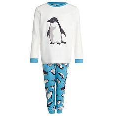 John Lewis Boy Monty & Mabel Long Sleeve Jersey Pyjamas, Cream/Blue... #MontyThePenguin