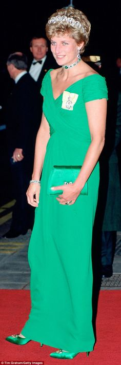 Confident colour: Diana co-ordinates perfectly in Catherine Walker in 1990