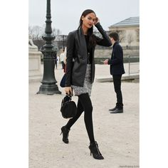 On the street…Joan Smalls, Paris ❤ liked on Polyvore