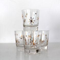 Vintage Atomic Snowflake highball glasses by Hallingtons on Etsy, $20.00