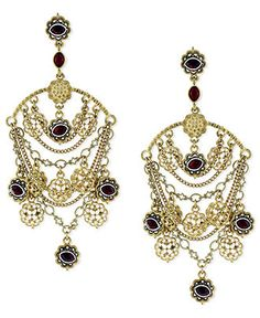Jessica Simpson Earrings, Gold-Tone Red Stone Draped Chain Chandelier Earrings - All Fashion Jewelry - Jewelry & Watches - Macy's
