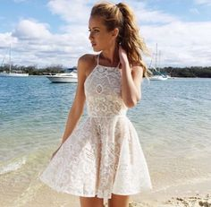Cheap Lace Homecoming Dresses, Short Tulle Homecoming Dresses, Women Party Dresses, Lace Ivory Short Prom Dresses, Summer Dresses for Girls Semi Dresses, Lace Homecoming Dresses, Hoco Dresses, Prom Party Dresses, Pretty Dresses, Beautiful Dresses, Evening Dresses, Casual Dresses, Summer Dresses