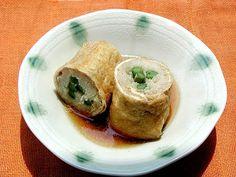 そうめんレシピ「グルメdeスローフード」 料理No.3 ○そうめんのしのだ巻き http://www.e-somen.jp/item/83.html 鶏と油揚げの旨みが そうめんにしみこんで絶妙です