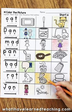 Short A Phonics Worksheets that give students practice read and write short a CVC words. This worksheet asks students to read the word, using blending cues, and color the matching picture. Phonics Worksheets, Phonics Activities, Teaching Phonics, Kindergarten Worksheets, Kindergarten Reading, Kindergarten Classroom, Short A Worksheets, Work Activities, Short A Activities