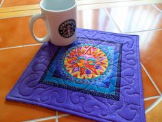 Celestial Dreams  bright and fun Mug Rug or Candle by QuiltingDiva, $7.00 Laurel Burch