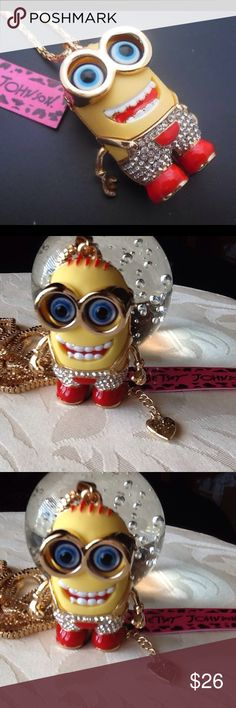 """😜  UNIQUE  &  FUN  😋  NECKLACE  🤗 Yellow and Red Enamel and Crystals Two Eyed with Moving Arms Minion Character Pendant Necklace.  NWT, 🔖 Never Worn and Kept in Original Packaging.  Chain ⛓ Length is Approximately 28"""" Long with Lobster Claw Closure.  Makes an Awesome Gift. 🎁 Betsey Johnson Jewelry Necklaces"""