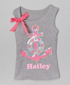 Loving this Pink & Silver Anchor Personalized Tank - Infant, Toddler & Girls on #zulily! #zulilyfinds