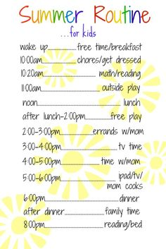 a daily routine for #kids over the #summer works so well. Put a #schedule that works for you on a dry erase board so everyone can see what's next!