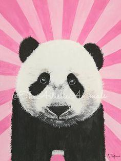 Canvas print of original painting Animal painting Panda