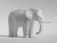 Cute 3D print of an elephant for our next DIY party @maketrays. This and other DIYs on maketrays.com Faceted Sculpture 3D Print.