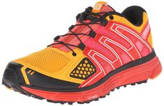 Salomon Women's X-Mission 3 W Trail Running Shoe, Yellow Gold/Radiant Red/Madder Pink, 5 B US. Multicolored running shoe featuring padded collar and Quicklace system with lace pocket for easy on/off. Molded EVA midsole for cushioning on urban or trail environments. 3D Grip for traction on various surfaces. Sensifit securely wraps foot. Sensiflex technology for snug fit.