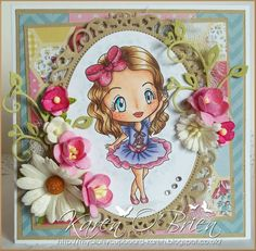 """http://mycraftycupboard-karen.blogspot.co.uk/ did this beautiful card using """"Ella Ballerina"""" available at www.kithandkindstampco.com"""