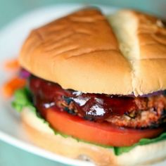 BBQ Turkey Burgers Recipe Lunch and Snacks, Main Dishes with chopped onion, barbecue sauce, dry bread crumbs, prepared mustard, chili powder, garlic powder, salt, ground turkey, lettuce leaves, sliced tomatoes, hamburger buns