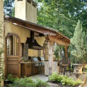 outdoor kitchen featured in At Home Arkansas magazine
