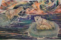 Купить Северное сияние - тёмно-фиолетовый, Батик, батик картина, шторка, занавеска, белые медведи