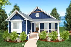 One-Level Bungalow with Open Floor Plan - Narrow Lot House Plans, Lake House Plans, Bungalow House Plans, House Floor Plans, One Level House Plans, Bungalow House Design, Bungalow Decor, Cottage House Plans, Cottage Homes