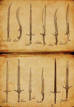 Elf Week: Elven Weapons by Atohas - Top Tips for Owning A Katana Sword Fantasy Sword, Fantasy Weapons, Fantasy Art, Elf Sword, Sword Art, Armes Concept, Lotr Swords, Sword Tattoo, Elven Tattoo