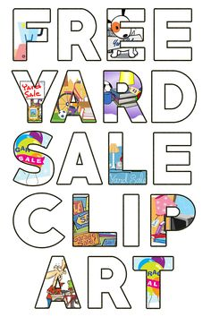Free original high resolution Garage Sale images and Yard Sale clipart for signs and flyers that will attract more customers! Yard Sale Signs, Garage Sale Signs, For Sale Sign, Garage Gym, Garage Sale Advertising, Garage Sale Organization, Community Garage Sale, Garage Sale Pricing