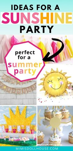 Celebrate your little one with a sweet sunshine party! Looking for ideas for a you are my sunshine birthday party. This post is full of sunshine party ideas and inspiration. Sunshine Party Decorations for a Sunshine Happy Birthday! Adorable Sunshine Party Ideas. There are so many wonderful sunshine party ideas for throwing a sunshine party. Sunshine Happy Birthday ideas are so cute for little ones. #sunshine #sunshineparty #partyideas #youaremysunshine Sunshine Birthday Parties, Birthday Party Treats, 1st Birthday Party For Girls, 1st Birthday Party Decorations, Birthday Desserts, Birthday Ideas, Happy Birthday, Summer Parties, First Birthdays