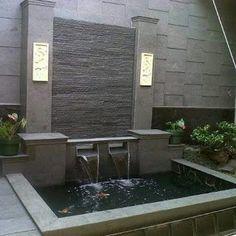 Modern Water Feature, Outdoor Water Features, Backyard Water Feature, Water Features In The Garden, Ponds Backyard, Koi Pond Design, Vertical Garden Design, Garden Landscape Design, Outdoor Wall Fountains